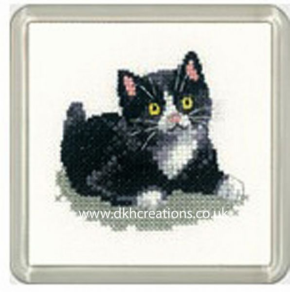 Black And White Kitten Little Friends Coaster Cross Stitch Kit